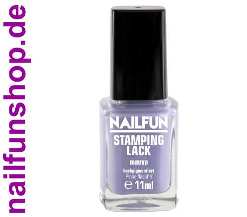 NAILFUN Stampinglack Mauve 11ml in der Glas Pinselflasche