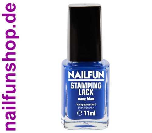NAILFUN Stampinglack Navy Blau 11ml in der Glas Pinselflasche