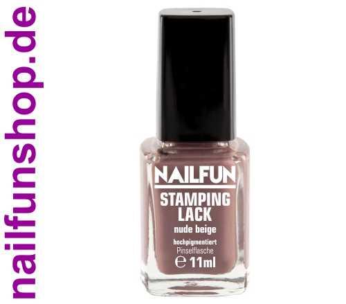 NAILFUN Stampinglack Nude Beige 11ml in der Glas Pinselflasche