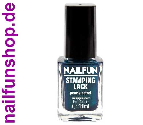 NAILFUN Stampinglack Pearly Petrol 11ml in der Glas Pinselflasche