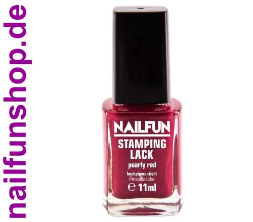 NAILFUN Stampinglack Pearly Red 11ml in der Glas Pinselflasche