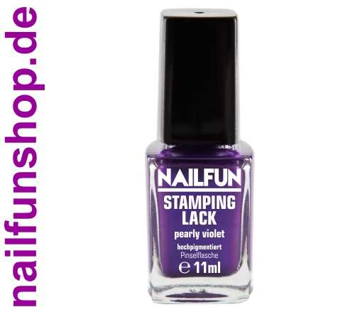 NAILFUN Stampinglack Pearly Violet 11ml in der Glas Pinselflasche