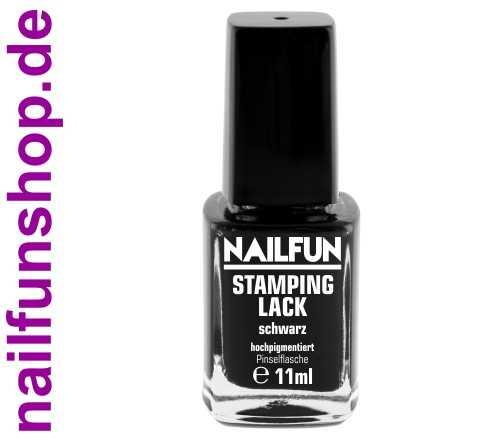 NAILFUN Stampinglack Schwarz 11ml in der Glas Pinselflasche