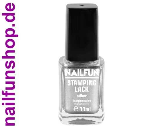 NAILFUN Stampinglack silber 11ml in der Glas Pinselflasche