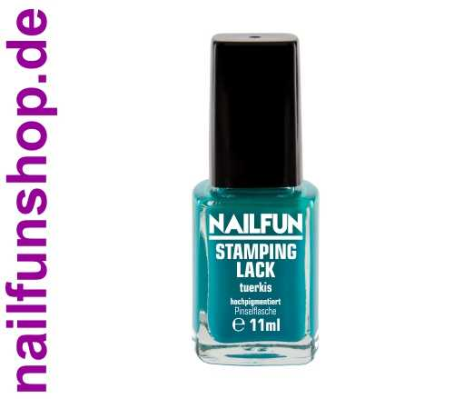 NAILFUN Stampinglack Türkis 11ml in der Glas Pinselflasche