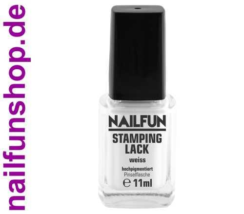 NAILFUN Stampinglack Weiss White 11ml in der Glas Pinselflasche