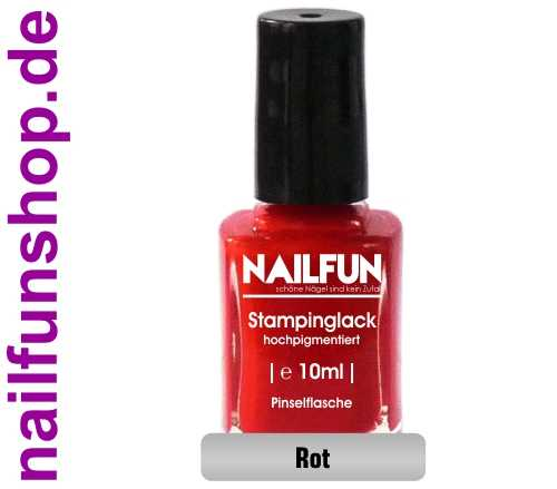 NAILFUN Stampinglack 07 Rot 10ml in der Glas Pinselflasche
