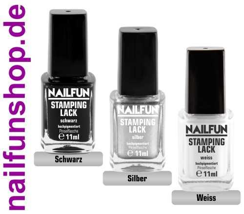 SET - 3 Stück NAILFUN Stampinglack schwarz + silber + weiss [3x 11ml]