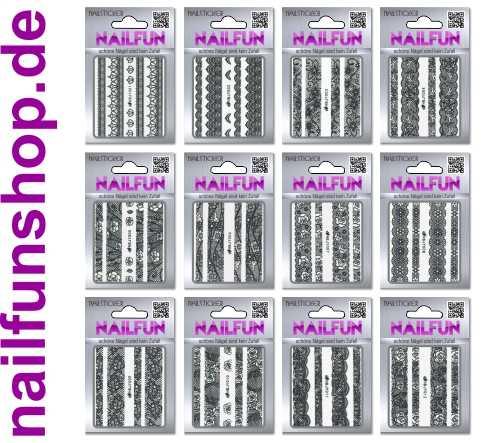 SET 03 - 12 Packungen Nailsticker HBJY Borten Streifen schwarz selbstklebend
