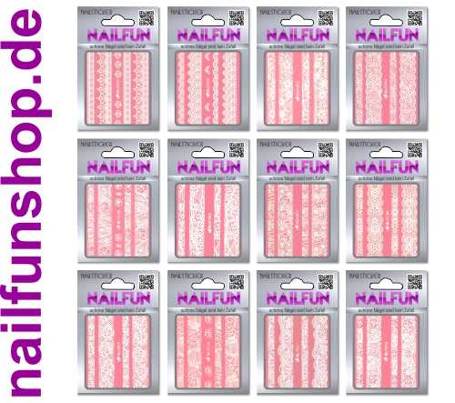 SET 01 - 12 Packungen Nailsticker HBJY Borten Streifen weiss selbstklebend