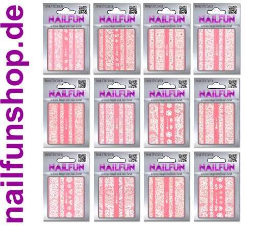 SET 02 - 12 Packungen Nailsticker HBJY Borten Streifen weiss selbstklebend