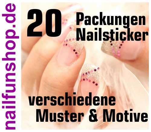 20 Packungen Nailsticker - sortiert - über 400 Einzelsticker