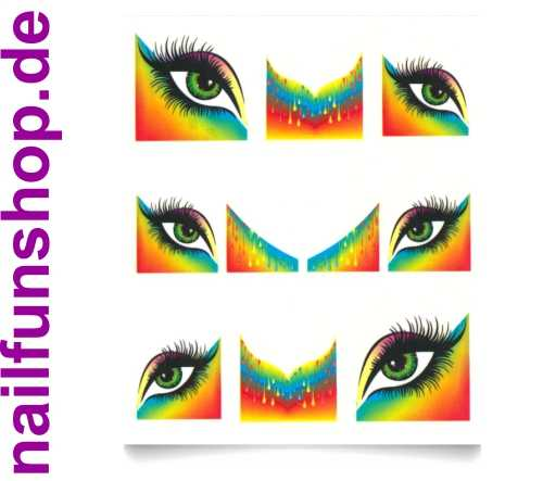 1 Bogen French One Stroke Sticker B-106 Rainbow Eyes Nailsticker Nailart