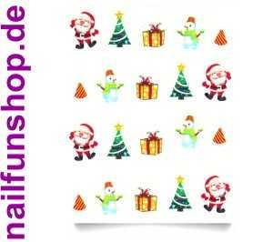 1 Bogen One Stroke Sticker BLE1580 Nailsticker Weihnachten Christmas Nail-Tattoo