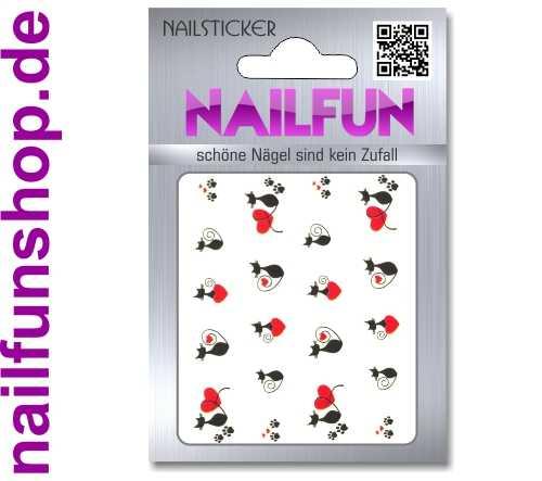 1 Bogen One Stroke Sticker BLE2203 Nailsticker Katzen Herz Nail-Tattoo