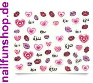 1 Bogen 3d Glitzer Kussmund Herz Sticker Ble746d Nailsticker Nailart