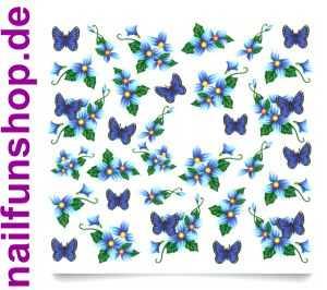 1 Bogen One Stroke Sticker C001 Blumen Schmetterlinge Nailsticker Nail-Tattoo