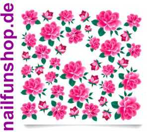 1 Bogen One Stroke Sticker C020 Blumen pink rosa Nailsticker Nail-Tattoo