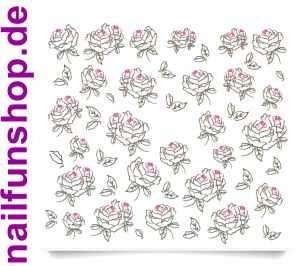 1 Bogen One Stroke Sticker C022 Rosen schwarz pink Nailsticker Nail-Tattoo