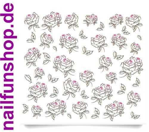 1 Bogen One Stroke Sticker C022 Rosen schwarz pink Nailsticker Nail-Tattoo