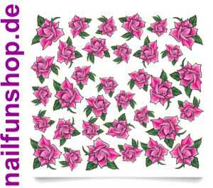 1 Bogen One Stroke Sticker C031 Blumen pink rosa Nailsticker Nail-Tattoo