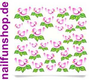 1 Bogen One Stroke Sticker C034 Vogel pink Nailsticker Nail-Tattoo
