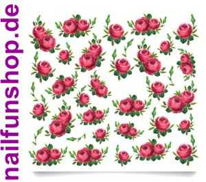 1 Bogen One Stroke Sticker C035 rote Rosen Nailsticker Nail-Tattoo