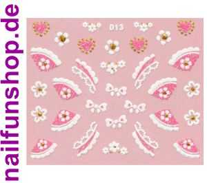 1 Bogen Glitzer Nailsticker D13 weiss rosa Nail Sticker Nailart Nail-Tattoo