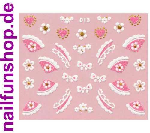 1 Bogen Glitzer Nailsticker D13 weiss rosa Nail Sticker Nailart Nail-Tattoo