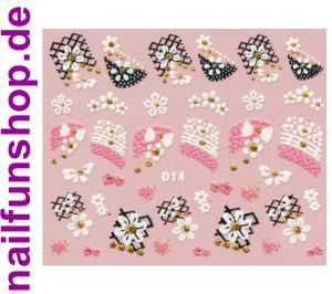 1 Bogen Glitzer Nailsticker D14 weiss rosa Nail Sticker Nailart Nail-Tattoo