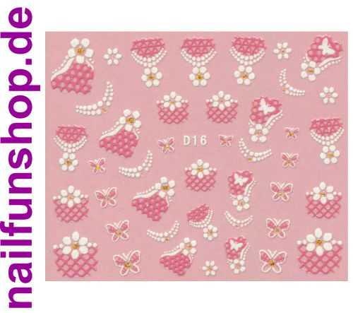 1 Bogen Glitzer Nailsticker D16 weiss rosa Nail Sticker Nailart Nail-Tattoo