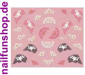 1 Bogen Glitzer Nailsticker D17 weiss rosa Nail Sticker Nailart Nail-Tattoo