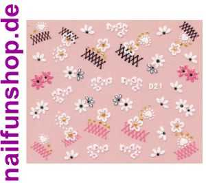 1 Bogen Glitzer Nailsticker D21 weiss rosa Nail Sticker Nailart Nail-Tattoo