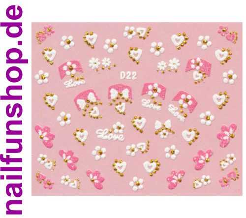 1 Bogen Glitzer Nailsticker D22 weiss rosa Nail Sticker Nailart Nail-Tattoo