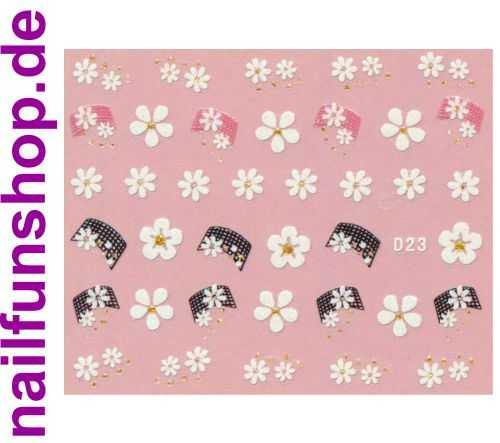 1 Bogen Glitzer Nailsticker D23 weiss rosa Nail Sticker Nailart Nail-Tattoo