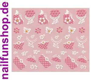 1 Bogen Glitzer Nailsticker D24 weiss rosa Nail Sticker Nailart Nail-Tattoo