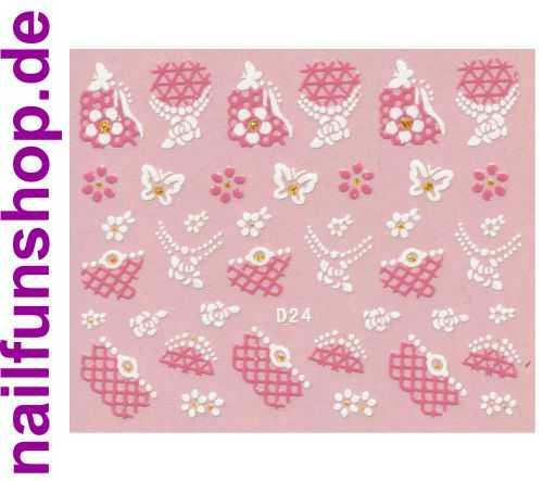 1 Bogen Glitzer Nailsticker D24 weiss rosa Nail Sticker Nailart Nail-Tattoo
