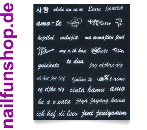 1 Bogen Nailsticker selbstklebend QJ-22 weisse Schrift zum Thema Liebe