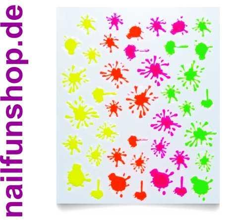 1 Bogen NEON Sticker QJ-7 selbstklebende Nailsticker Neon Kleckse