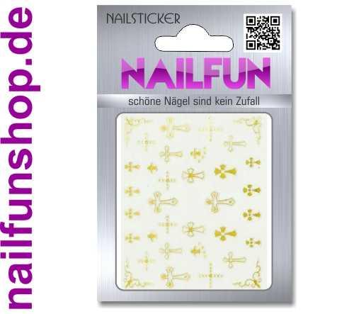 1 Bogen selbstklebende Nailsticker TY074 gold Kreuz Kreuze Nailart Nail-Tattoo