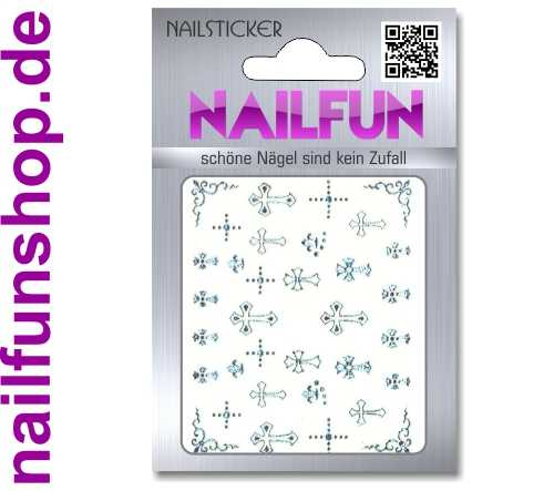 1 Bogen selbstklebende Nailsticker TY074 silber Kreuz Kreuze Nailart Nail-Tattoo