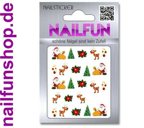 1 Bogen One Stroke Sticker BLE114 Nailsticker Weihnachten Christmas Nail-Tattoo