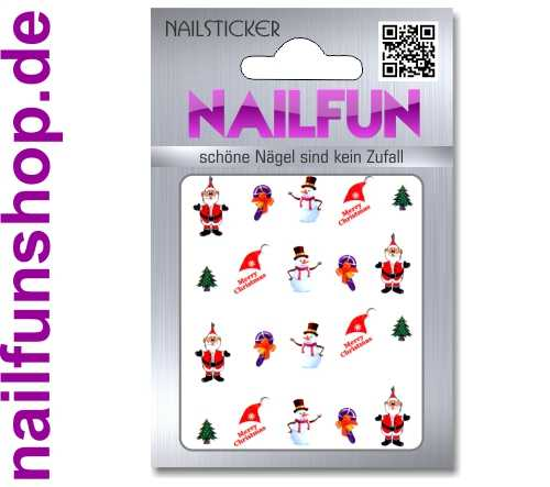 1 Bogen One Stroke Sticker BLE117 Nailsticker Weihnachten Christmas Nail-Tattoo
