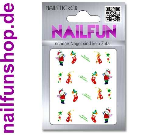 1 Bogen One Stroke Sticker BLE118 Nailsticker Weihnachten Christmas Nail-Tattoo