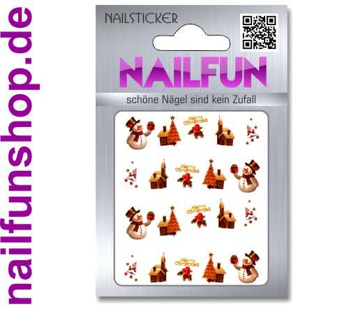 1 Bogen One Stroke Sticker BLE128 Nailsticker Weihnachten Christmas Nail-Tattoo NAILFUN