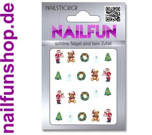 1 Bogen One Stroke Sticker BLE1587 Nailsticker Weihnachten Christmas Nail-Tattoo