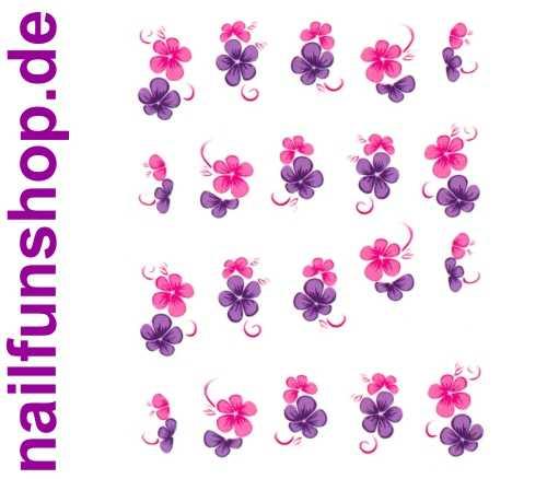 1 Bogen One Stroke Sticker BLE164 (20 Stück) Nailsticker Blumen Nail-Tattoo