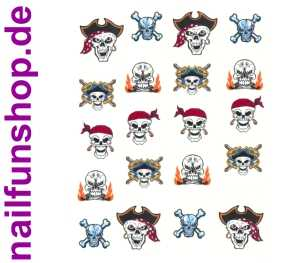 1 Bogen One Stroke Sticker BLE-373 Halloween Nailsticker Pirat Karneval Fasching