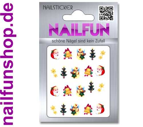 1 Bogen One Stroke Sticker BLE909 Nailsticker Weihnachten Christmas Nail-Tattoo NAILFUN