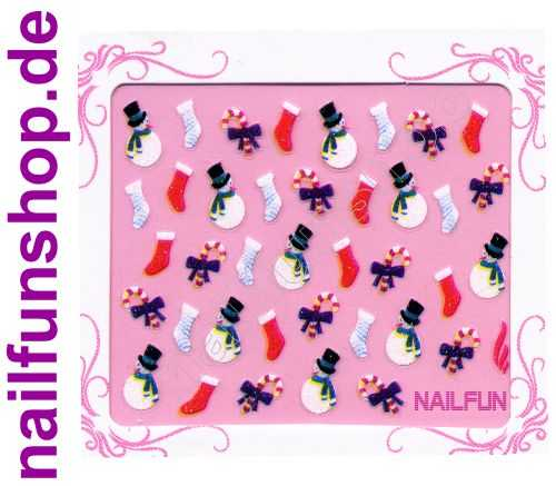 NAILFUN Weihnachten-Sticker 3D CR-02 selbstklebend Nailsticker Christmas-Sticker Nailtattoo Nail-Tattoo Weihnachten Weihnachtssticker Chrsitmas XMAS